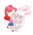 cartoon girl kissing and strongly cuddling cat vector image vector image