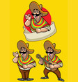 cartoon of mexican character set vector image