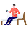character sitting on bench and surfing internet vector image