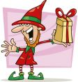 Christmas elf with special gift vector image vector image