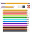 colored pencils eraser and sharpener isolated on vector image vector image