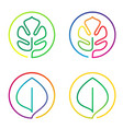 continuous line art logo set of bright colorful vector image vector image