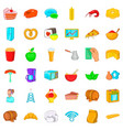 cook icons set cartoon style vector image vector image