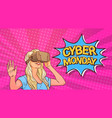 cyber monday poster with woman wearing 3d virtual vector image