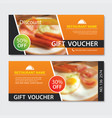 discount voucher breakfast template design set of vector image vector image