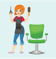 fashion hairdresser woman with hair clipper and vector image vector image