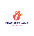 feather pen fire flame logo icon vector image vector image