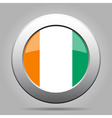 flag of Ivory Coast shiny metal gray round button vector image