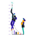 graphic and businessman climbing up man and woman vector image