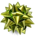Green bow of shiny ribbon vector image
