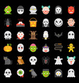 halloween character icon set in flat design vector image