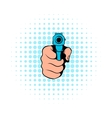 Hand pointing with the gun icon comics style vector image