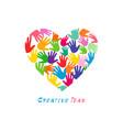 heart hand arts logo concept vector image