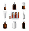 Medical bottles icons set vector image vector image