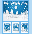 merry christmas paper cut silhouettes cards set vector image vector image