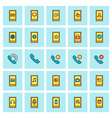 Mobile phone and communications icon set in flat vector image