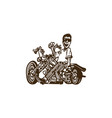 motorcycle and man cartoon vector image