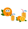 orange juice glass of orange juice with whole vector image vector image