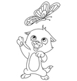 outlined kitten and butterfly vector image vector image