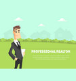 professional realtor banner template businessman vector image