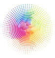 round frame with halftone and rainbow watercolor vector image vector image