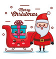 santa claus with sled and gift character christmas vector image vector image