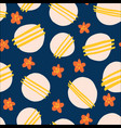 seamless pattern flowers and dots bold vector image vector image