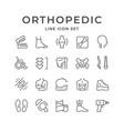 set line icons orthopedics vector image vector image
