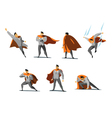 set of businessman Superhero actions different vector image vector image