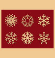 set of icons snowflakes on red background vector image vector image