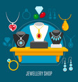 showcase jewelry shop composition vector image vector image