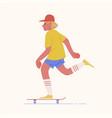 skater teenage boy or skateboarder riding vector image