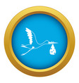 stork carrying icon blue isolated vector image