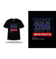 t-shirt new york city color blue and red vector image vector image