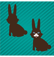 two types of bunny silhouettes on a background of vector image vector image