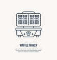 waffle maker electric grill flat line icon vector image