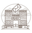 wild west post office outline drawing for coloring vector image vector image