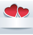 Love background with two 3d hearts vector image