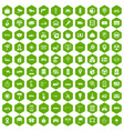 100 car icons hexagon green vector image vector image