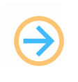 Arrow sign direction icon circle button flat style vector image vector image