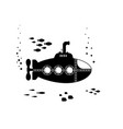 black silhouette submarine with periscope vector image vector image