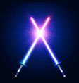 blue and pink crossing laser sabers war vector image vector image