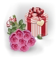 Bouquet pink roses and gift box vector image