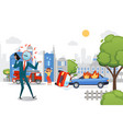 businessman watchhead call late employee vector image