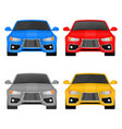 car front view set colored vehicles vector image