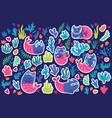 cat mermaids seaweeds and corals sticker set vector image