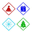 christmas rubber stamp elements set isolated on vector image