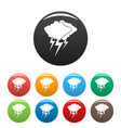cloud thunder flash icons set color vector image