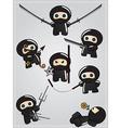 collection cute cartoon ninja warriors vector image
