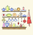 cooking shelf with vintage dishes vector image vector image